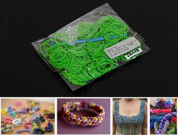 ZB44B LOOM BANDS 200 PC BAG GREEN